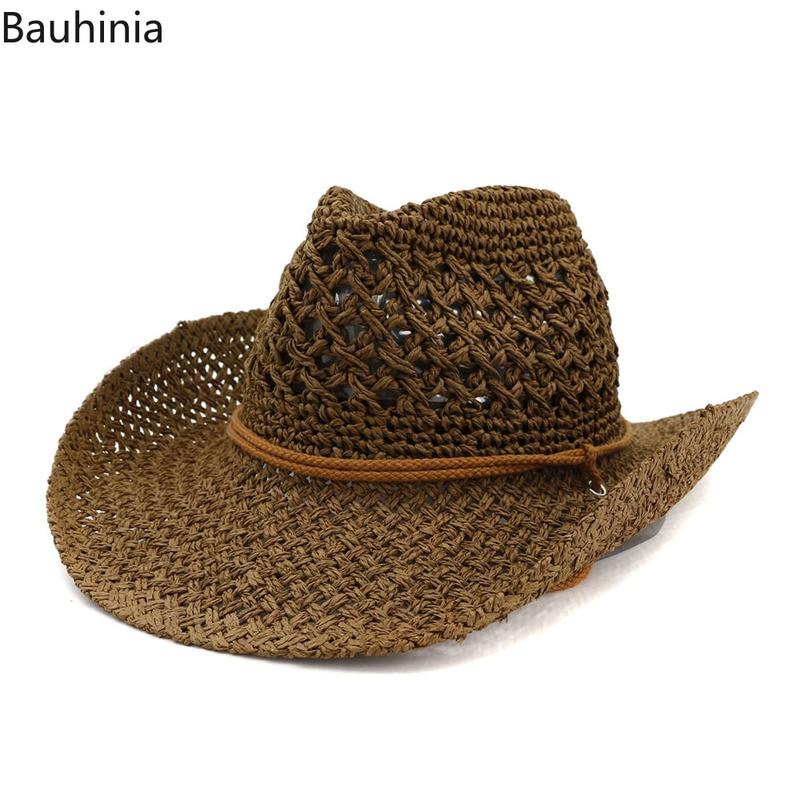 Summer Sun Beach Straw Hat  Women Men Wide Brim Hats Fashion Handmade Casual Western Style Cowboy hat