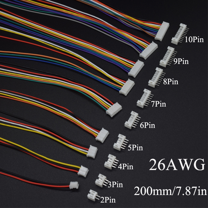 10Sets Mini Micro JST 2.0 PH Male Female <font><b>Connector</b></font> 2/3/<font><b>4</b></font>/5/6/7/8/9/10-<font><b>Pin</b></font> Plug With terminal Wires <font><b>Cables</b></font> Socket 200MM 26AWG image