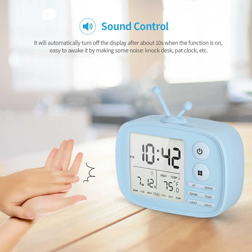 Original tv despertador lcd tempo temperatura data semana display despertador com função de soneca usb recarregável secretária despertador