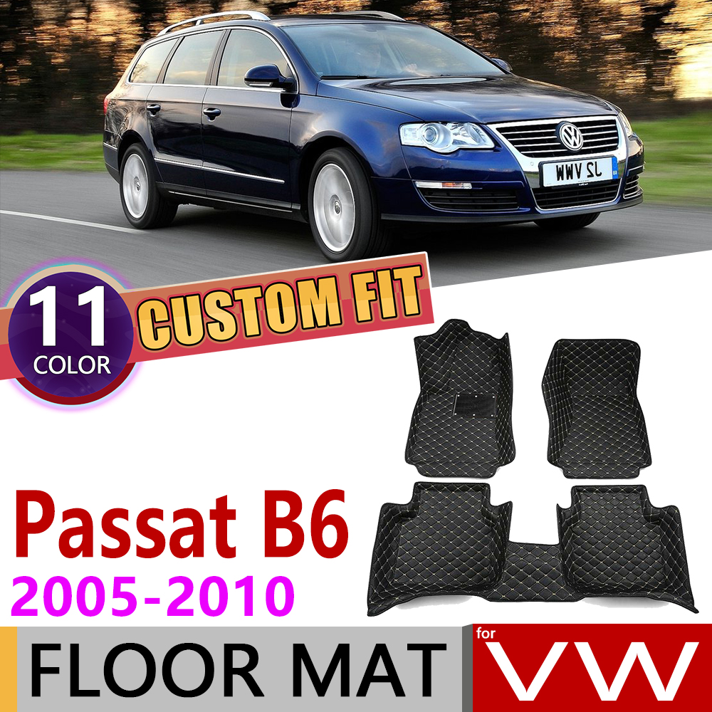 Custom Car Leather Floor Mats For Volkswagen VW Passat B6 Estate Variant 2005~2010 5 Seats Auto Foot Pad Carpet Accessories 2006