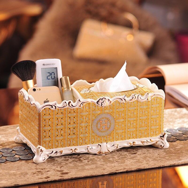 Bathroom Ceramic Tissue Box Desktop Organizer Durable Multifunctional Remote Holder Pencil Holder For Office Home Storage Box