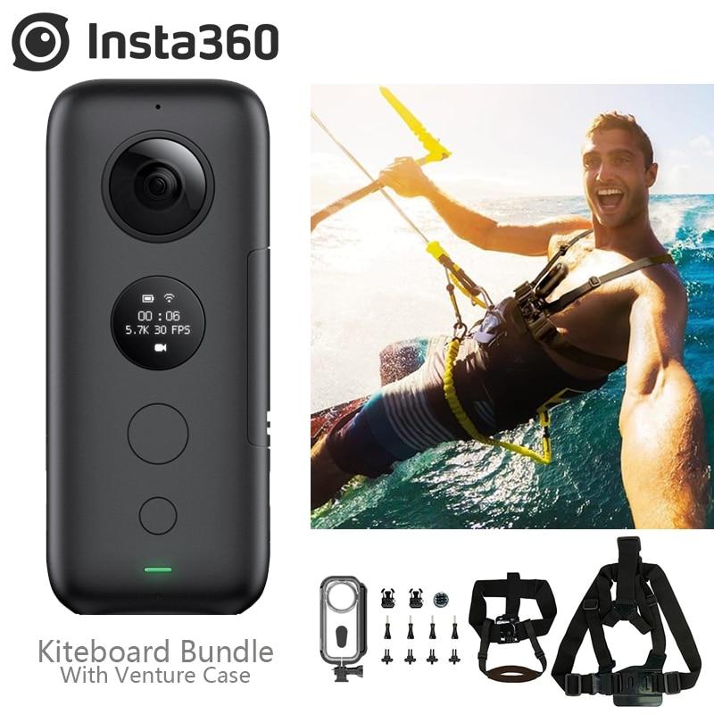 Insta360 ONE X 18MP 5.7K caméra d'action Photo Wifi Support kiteboard Jet Ski Bundle boîtier de risque accessoires lot d'eau blanche