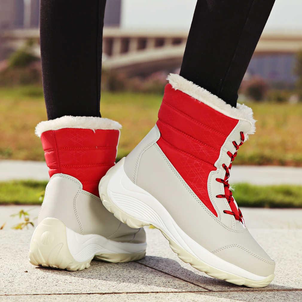 Kadın botları platformu su geçirmez kış ayakkabı kadın kar botları tutmak sıcak ayak bileği kış çizmeler ile kalın kürk topuklu Botas Mujer 2019