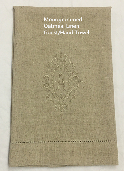 Set Of 12 Monogrammed Guest/Hand Towels Hemstitch Oatmeal Linen Tea Towel Cleaning Cloth Guest Hand Dish Kitchen Bathroom Towels