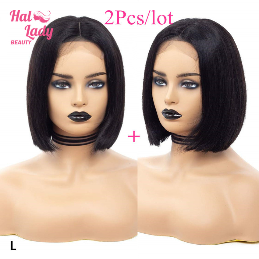Halo Lady Beauty 2Pcs Lace Closure Bob Wigs 4*4 Lace Front Human Hair Wig Brazilian Straight Non-remy Hair Wig For Women 150%