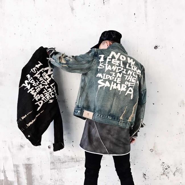Image 4 - 2019 Street clothing Hip hop style Jeans Jacket Mens Jackets And Coats Denim Jacket Mens Hole Clothes Cotton Jeans Jacket-in Jackets from Men's Clothing