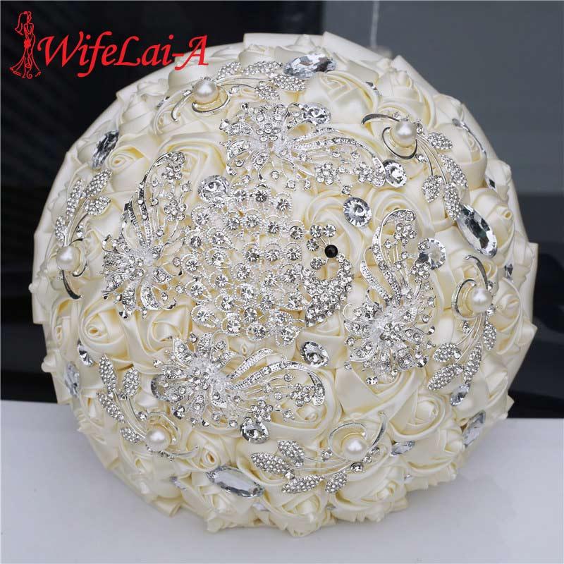 WifeLai-A Wedding Flower Ivory Satin Rose Bridal Bouquets Artificial Flower Wedding Bouquet Bridesmaid Bouquet With Crystal W258