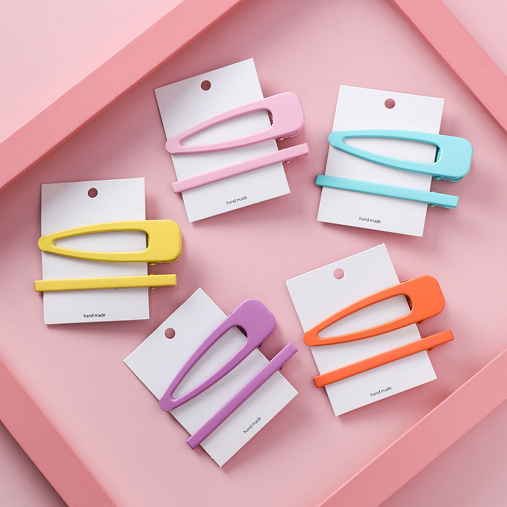 2pcs/set Korean Girl Hair Clips For Women Fluorescence Candy Color Hair Styling Snap Clip Hairpins Metal BB Clip Accessories