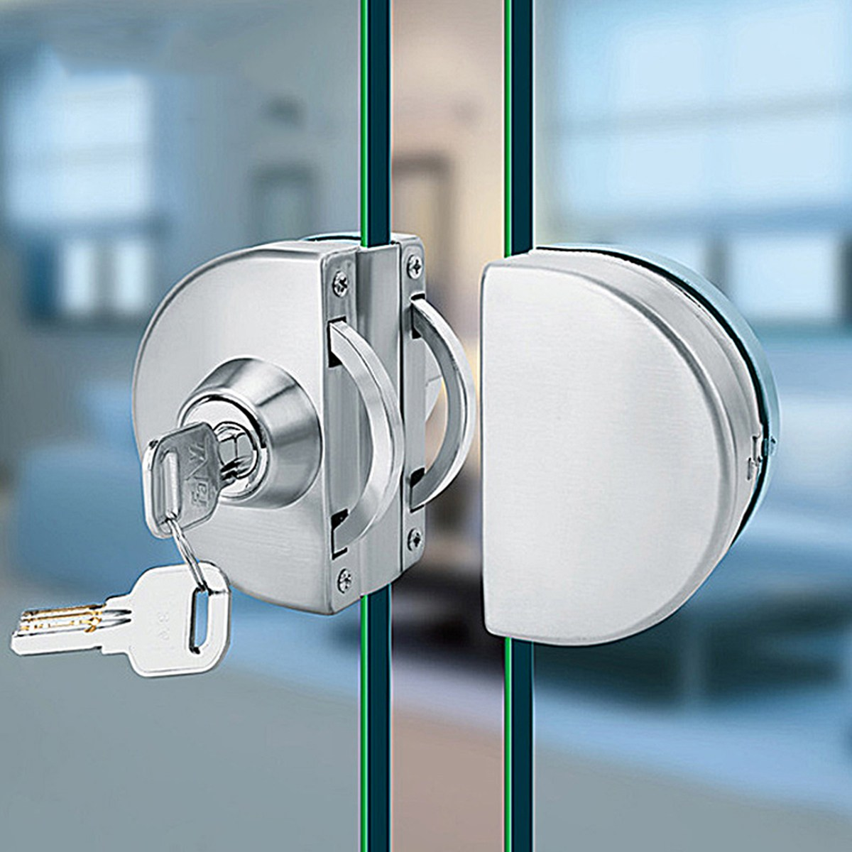 10-12mm Glass Door Lock Stainless Steel Double Bolts Swing Push Sliding Access Control Office Glass Door Lock