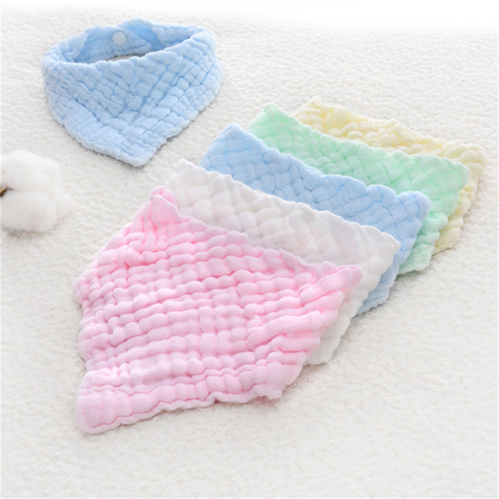 Simple Design Six Layers Of Pleated Washed Soft Cotton Bibs Burp-Cloths Saliva Towel Feeding Triangle Neonatal Towels