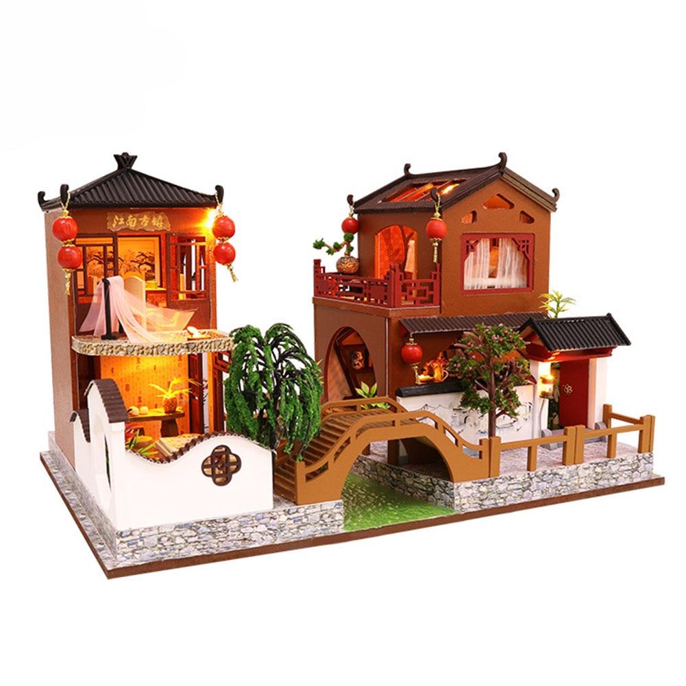 Affichage cadeaux bricolage jouets en bois enfants poupée maison assemblée lumière LED artisanat alimenté par batterie Non toxique décoratif Style chinois