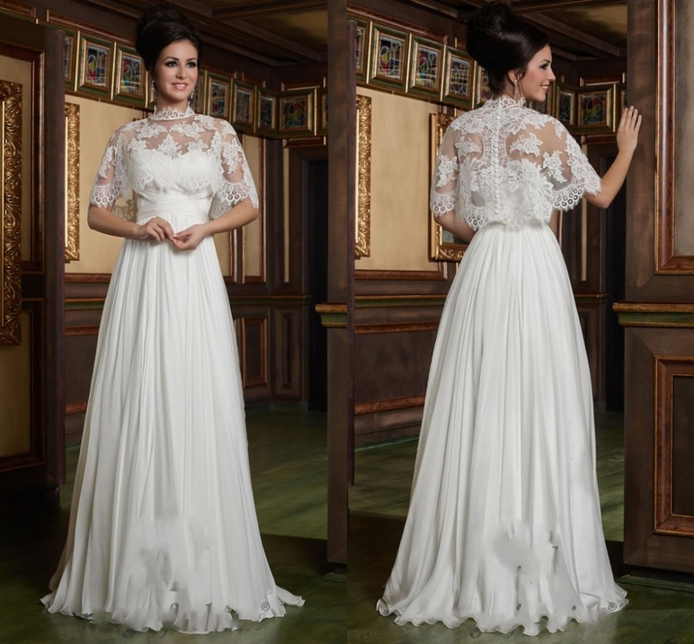 Fast Delivery Sexy Wedding Dresses White A Line Appliques Pleat Romantic Vestido De Novia Lace Wedding Dress With Half Sleeve