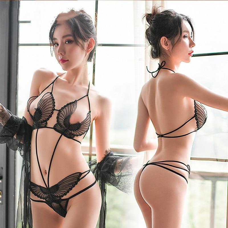 Woman Lace Hollow Tanks Camis Bra Underwear Set Harness Perspective Bikini Top