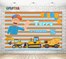 Youtube Blippi Photography Backdrop Baby Shower Boy 1st Birthday Party Background Orange Blue Engineer Vehicle Photo Booth Props