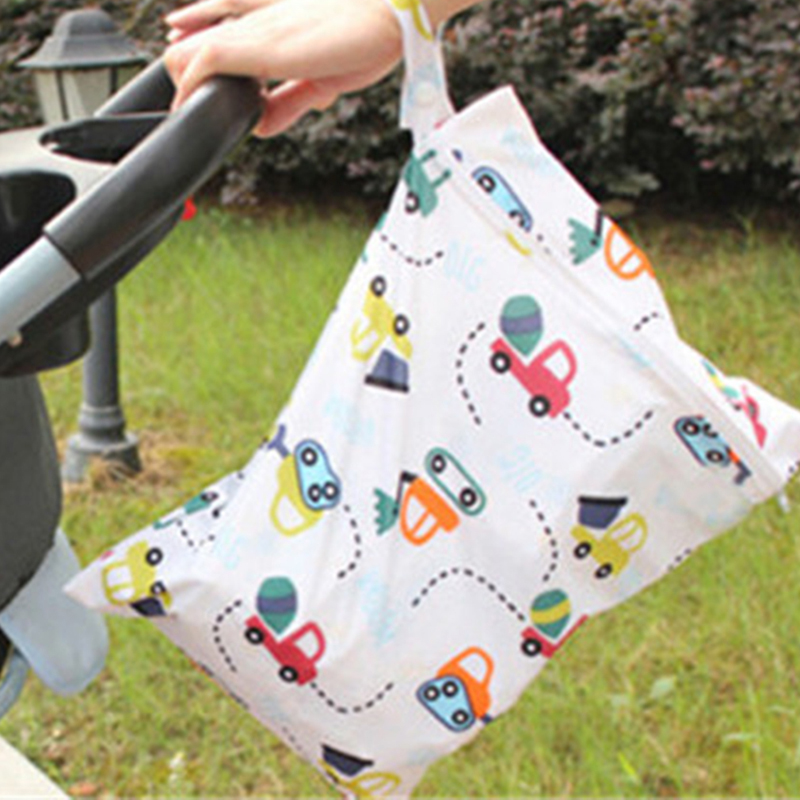 Snailhouse Waterproof Baby Diaper Bags Reusable Washable Zipper Baby Diaper Wet Dry Bag For Stroller Baby Nappy Storage Tote Bag