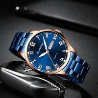 CUENA 2020 nowych mężczyzna zegarka biznes pas stalowy zegarek kwarcowy z kalendarzem Reloj Hombre męskie zegarki na rękę wysokiej jakości zegarki luksusowe