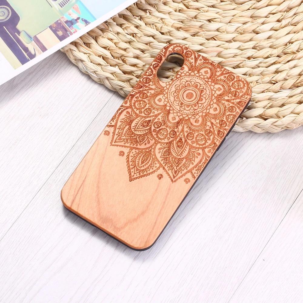 Inciso Vintage Hennè Mandala Floreale Cassa Del Telefono di Legno Naturale Coque Per il iPhone 12 6 6 Più Il 7 7 Più 8 8 più XR X XS Max 11 Pro Max