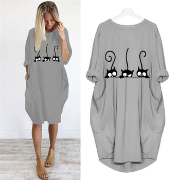 2019 Dress Cute Cat Printing Pocket Loose Dress Vintage Fall Maxi Clothes Woman Casual Dresses Party Women Dresses Plus Size New