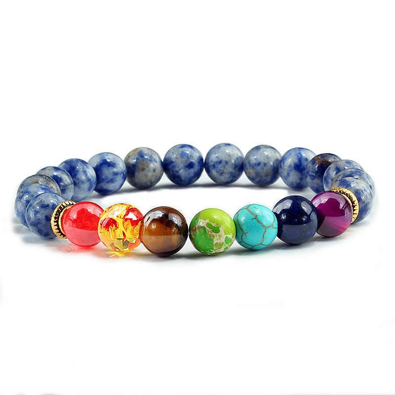 Coloridos de Pedra Natural Olho de Tigre 7 Chakra Pulseiras & Bangles Emagrecimento Produtos Oração Buda Pulseira Elástica Mulheres Homens