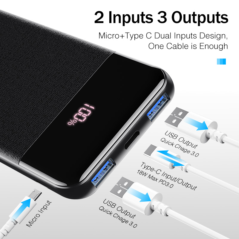 Image 2 - YKZ QC 3.0 LED Power Bank 10000mAh Portable external mobile battery powerbank PD Fast Charger Poverbank For Xiaomi mi Pover bank-in Power Bank from Cellphones & Telecommunications