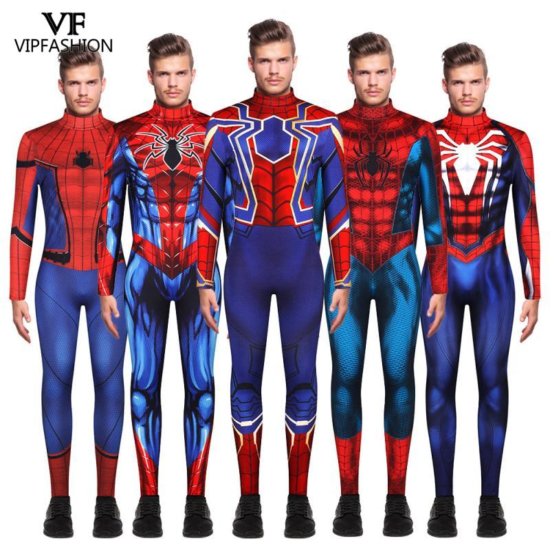 VIP FASION New Adult Men Iron Spiderman Far From Home Peter Parker Cosplay Costume Without Mask Superhero Jumpsuits Unisex