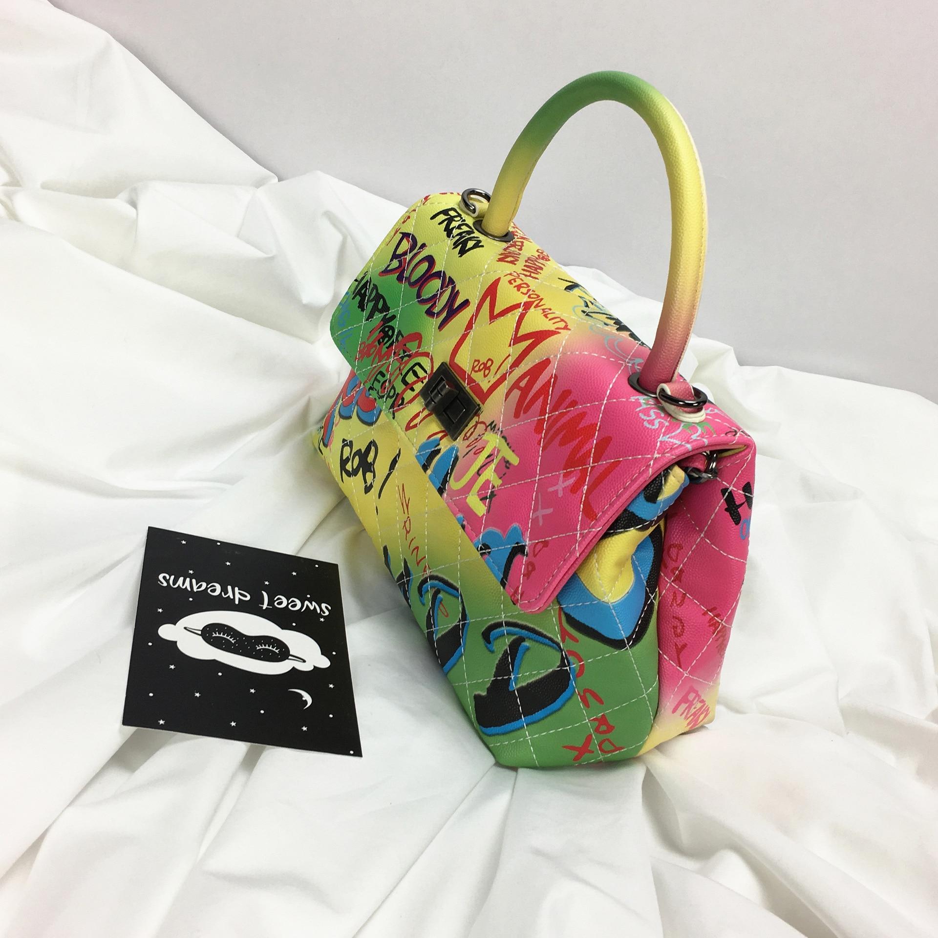Sac à Main en cuir Graffiti épaule bandoulière sacs pour femmes 2019 célèbre concepteur dames Sac fourre-tout de luxe Sac Main Femme Bolso - 2