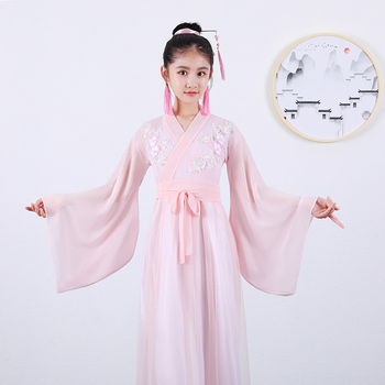 Folk Fairy Dress Pink Outfits Ancient Chinese Costume Kids Clothes Traditional Hanfu Tang Dynasty Dance Performance Costumes фото
