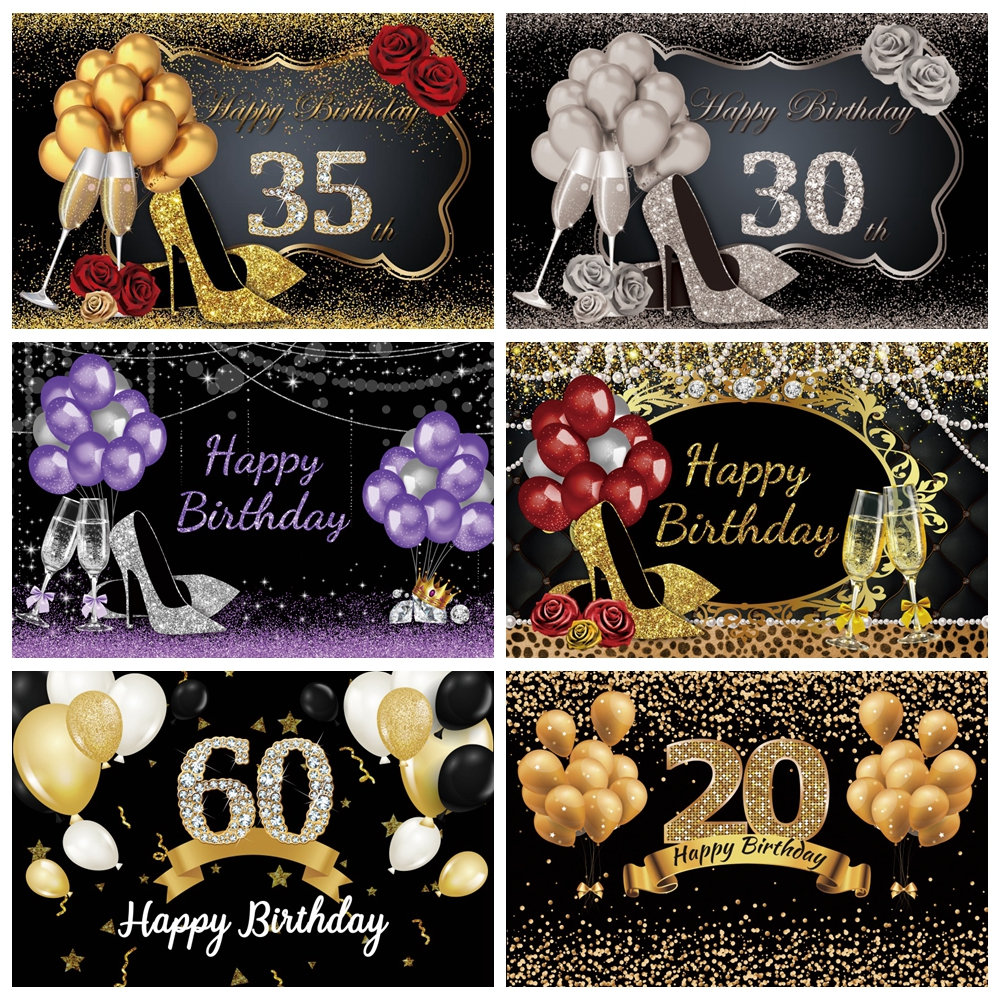 Balloons Backdrop Photography Happy Fabulous Women's 50th 30 40 60 Birthday Party Photographic Background Photocall Photo Studio