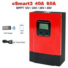 Controlador de carga solar inteligente ESmart3 LCD 40A 60A, MPPT, máximo 150VDC con RS485 y sensor de temperatura de batería 12V/24V/36V/48V