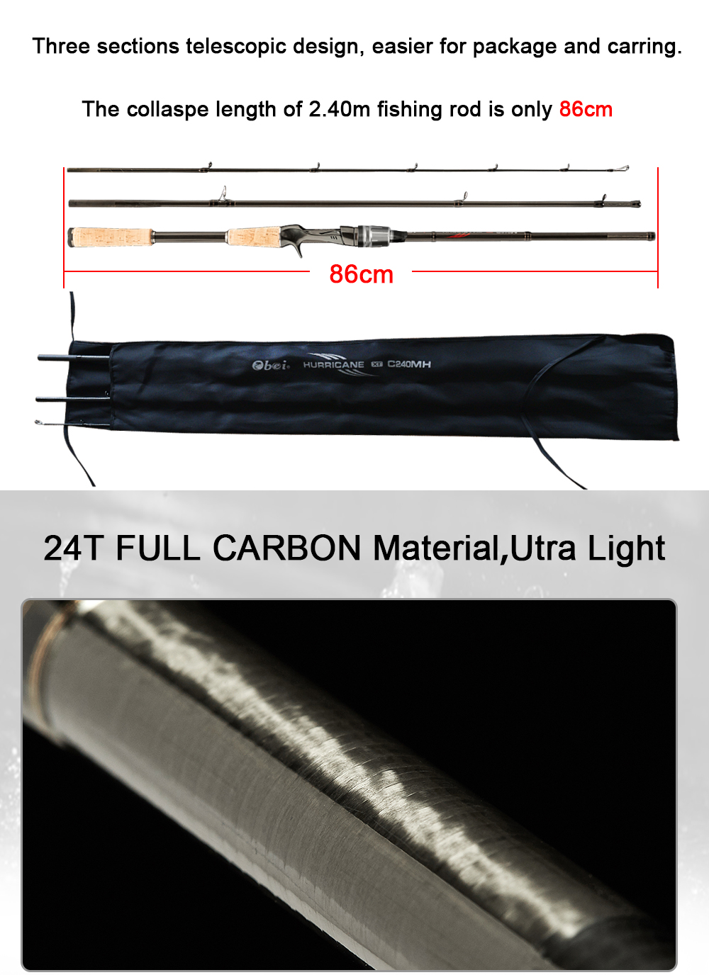 Obei HURRICANE 3 section Bait Casting Fishing Rod in Telescopic Design for Fast Casting and Clear Biting 7
