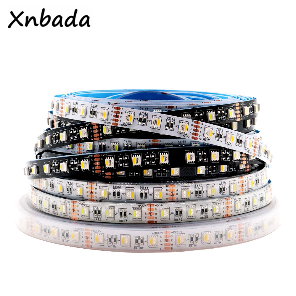 4 colores en 1 Chip LED 5050SMD tira de luz LED RGBW RGBWW IP20 IP65 IP67 impermeable 60LEDs/M DC12V /24V Blanco/Negro PCB