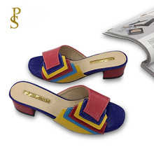 Modny i delikatny Patchwork wielokolorowy damski klapki damskie styl nigerii buty