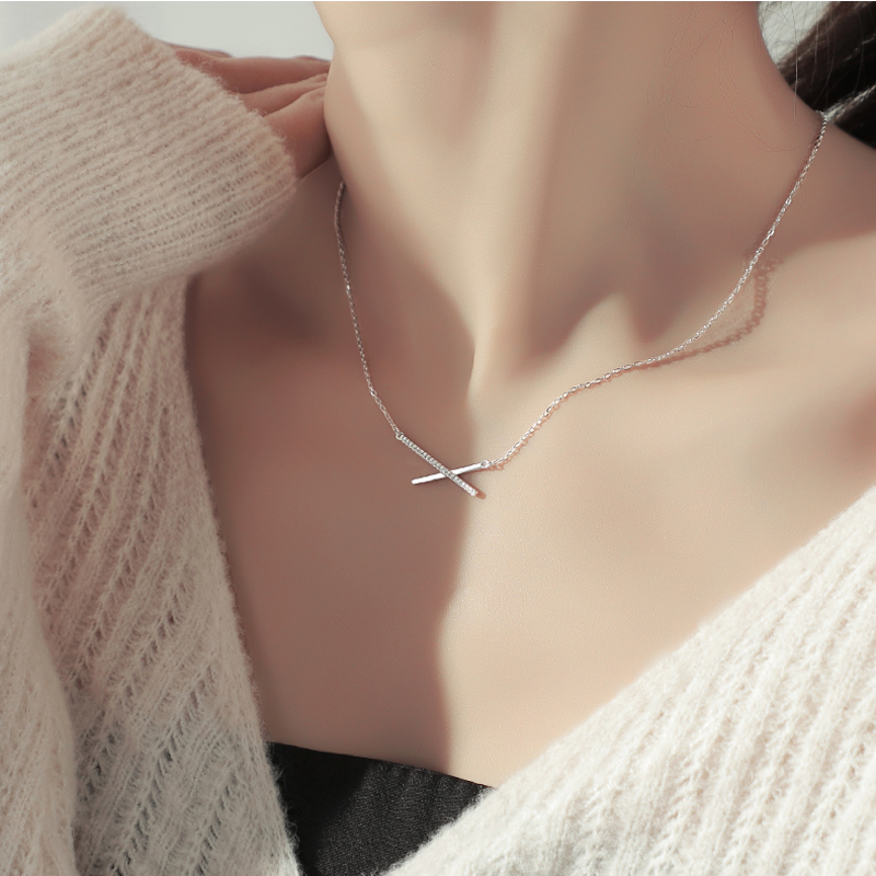 ONEVAN Trendy 925 Sterling Silver AAA Zircon Geometric Strip Pendant Necklaces For Women Gift Simple Fine Jewelry NK017