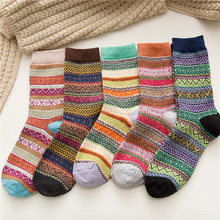 Socks Girls Winter Clothing Ethnic Wool Thicken Warm Soft Striped 5pairs/Set Sports Multicolor