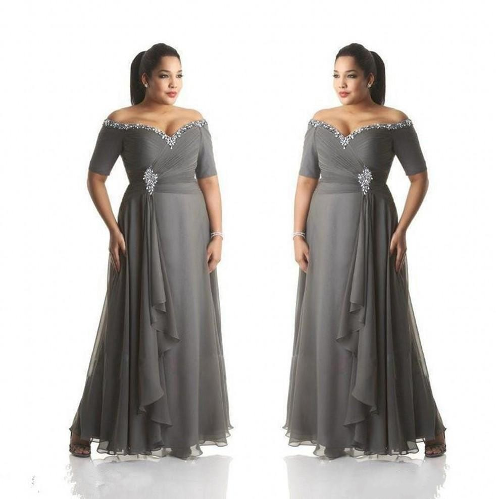 Plus Size Grey Mother Of The Bride Dresses Beads Off The Shoulder Chiffon Long Formal Party Gowns Mother Groom Dresses