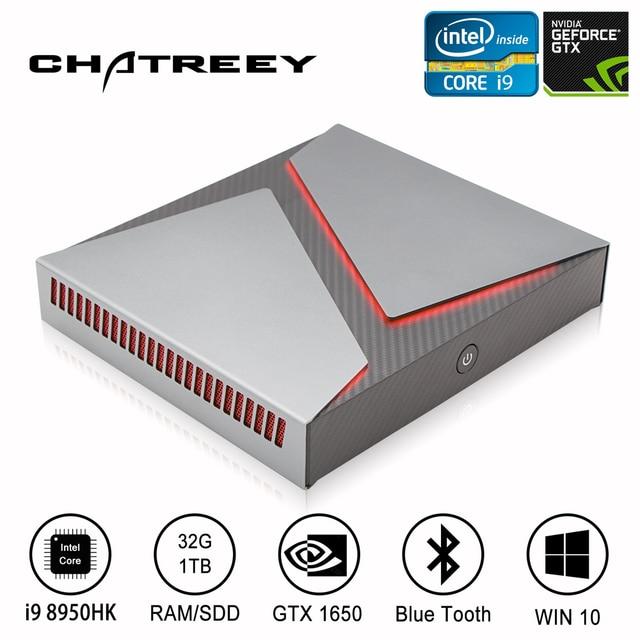 Chatreey Mini PC Intel i9 i7 i5 6 Cores with Nvidia GTX1650 4G Graphics Windows 10 Linux Gaming Desktop Computer SSD 1