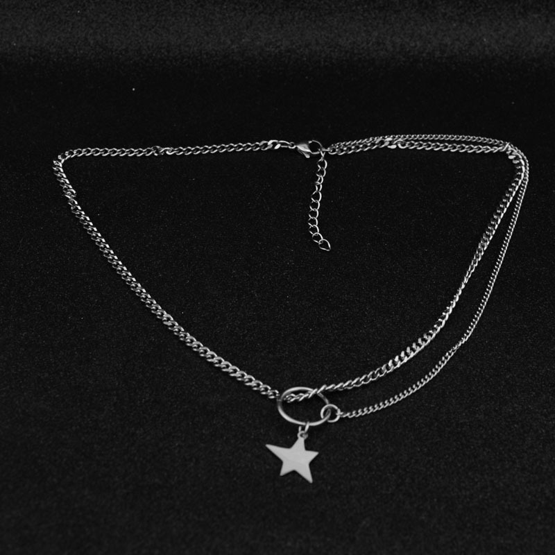 VIVILADY Asymmetric FIve Pointed Star Stainless Steel Women Necklace Neutral Clavicle Choker Necklace Holiday Parties