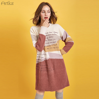 ARTKA 2019 Winter New Women Dress Letter Embroidery Color Splice Knitted Sweater Dresses Thick Loose Long Sweater Dress Y010091Q юбка artka qb17249d