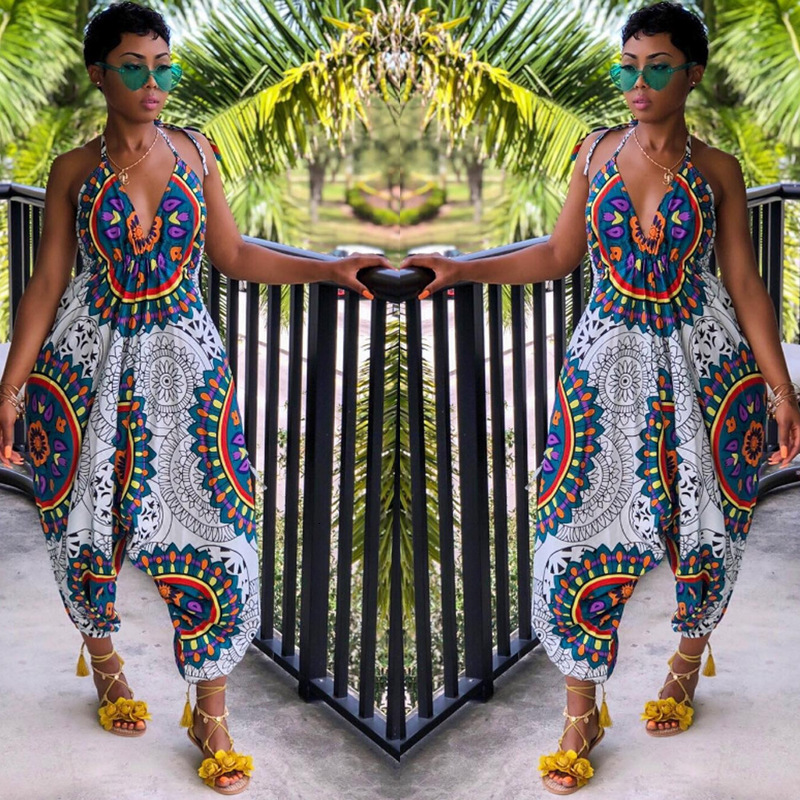 Women Sexy Bohemia African Outfits Femme Fashion Floral Print Vest Clothing Jumpsuits Indian Dancing Costumes Plus Size Clothes