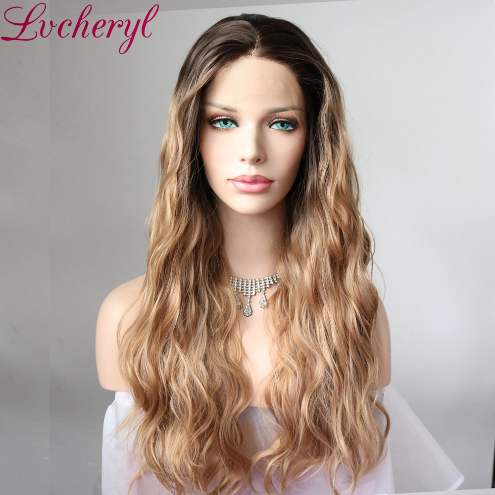 Lvcheryl Synthetic Front Lace Wigs Dark Brown Roots to Blonde Color Natural Long Wavy Hair Heat Resistant Hair Wigs for Women