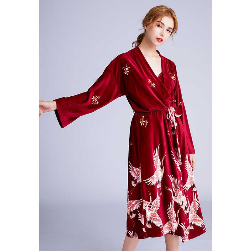 Хлопковая ночная рубашка для женщин; сезон осень-зима; Пижама с v-образным вырезом и принтом крана; Милая юбка; платье; домашняя одежда; халат + юбка на бретелях; комплект