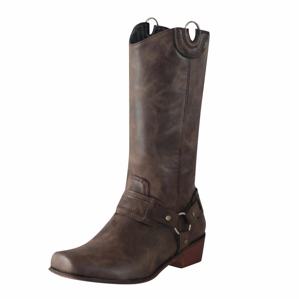 Botas ocidentais das mulheres inverno longo tubo retro boot estilo roma senhora clássico grande bezerro sapatos de salto baixo vintage cowboy equitação botas
