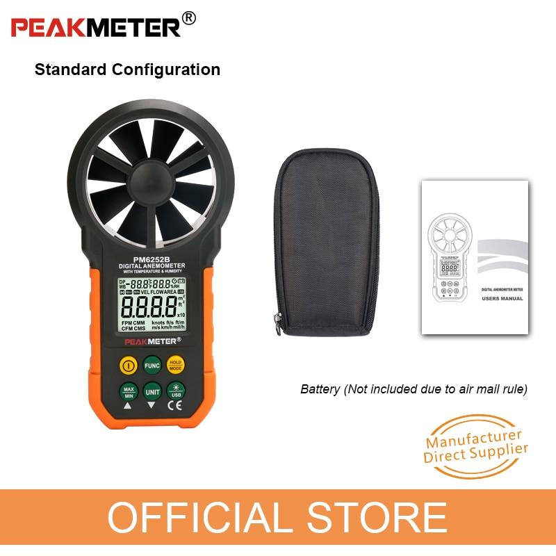 Peakmètre anémomètre numérique vitesse de l'air vitesse du vent mesure vitesse débitmètre d'air température humidité LCD Sceen MS6252B - 6