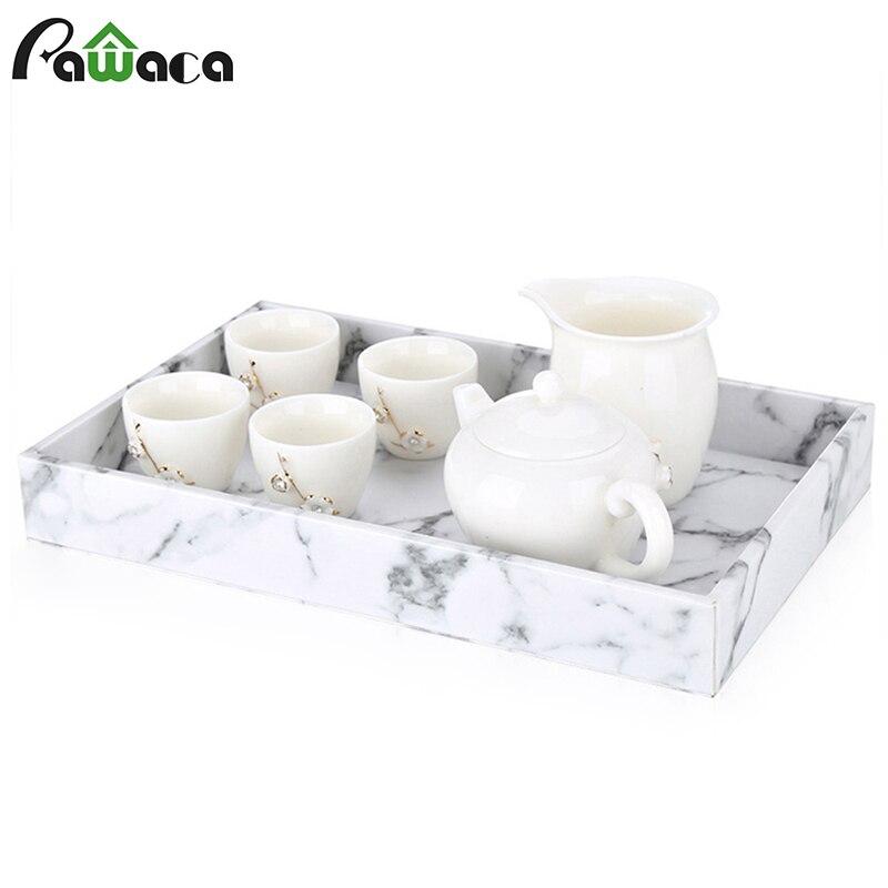 Поднос для хранения с мраморным рисунком, поднос для китайского чайного сервиза Gongfu, поднос для фруктов, поднос для снэков, Настольный Органайзер-0