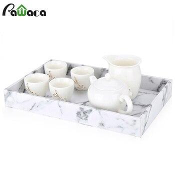 Поднос для хранения с мраморным рисунком, поднос для китайского чайного сервиза Gongfu, поднос для фруктов, поднос для снэков, Настольный Органайзер