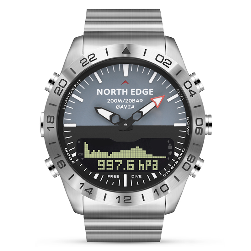 Stainless steel Quartz Watch Dive Military Sport Watches Mens Diving Analog Digital Watch Male Army Altimeter Compass NORTH EDGE - 2
