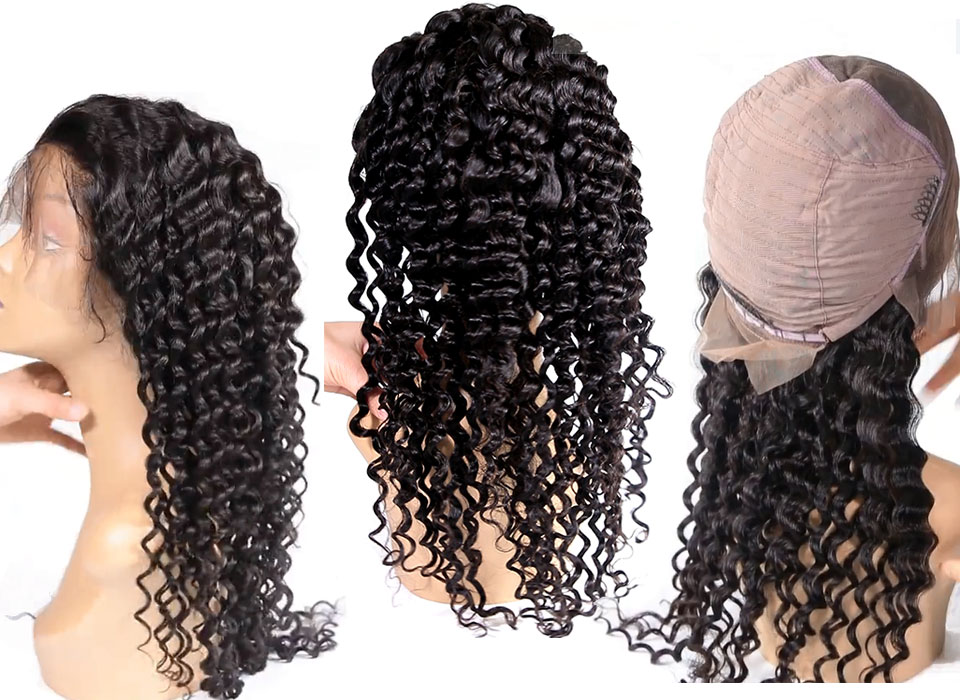 """Hde840f78957e472abd847e25f24c4950T Ali Queen 13x6 Lace Front Wig Natural Color 8""""-26"""" High Ratio 8A Brazilian Deep Wave Curly Remy Human Hair Wigs For Women"""