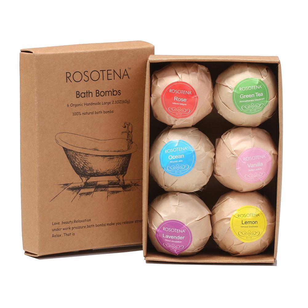 VIBRANT GLAMOUR 6 Pcs/set Organic Bath Bomb Bubble Bath Salts Ball Essential Oil Handmade SPA Body Stress Relief Salt Ball