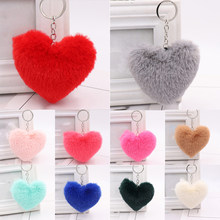 Cute Fluffy Heart Key Chain Women Faux Rex Rabbit Fur Key Ring Girl Package Bag Hang Car Keychain Jewelry Bag Accessories(China)