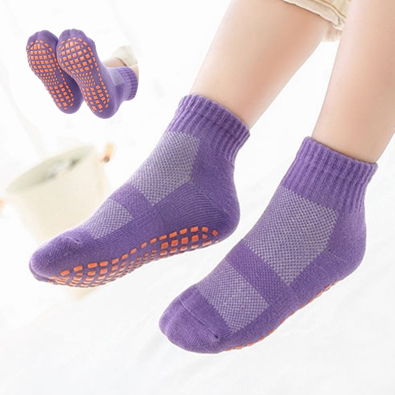 Mesh Thin Kids Floor Socks With Rubber Sole Non-slip Children Indoor Socks Cotton Solid Color Baby Boys Girls Socks Breathable